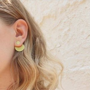 Jewelry - Geometric Gold Circle Ear Jacket Stud Earrings